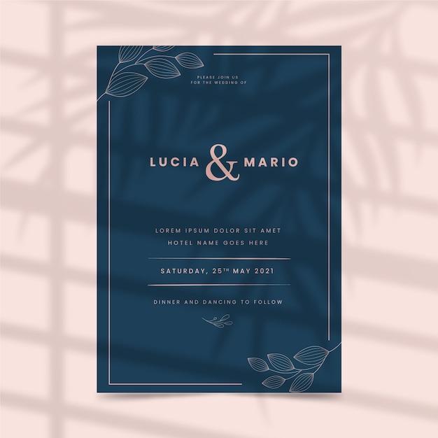 Stile modello di invito di nozze Vettore gratuito