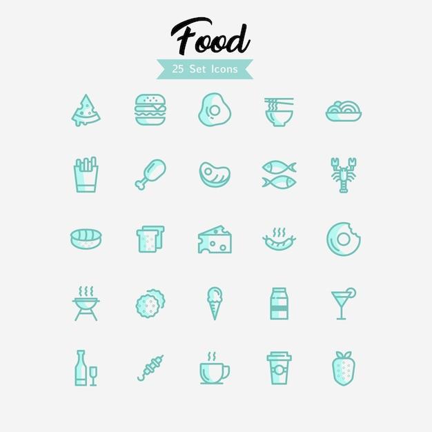 Stile moderno icone di cibo Vettore Premium