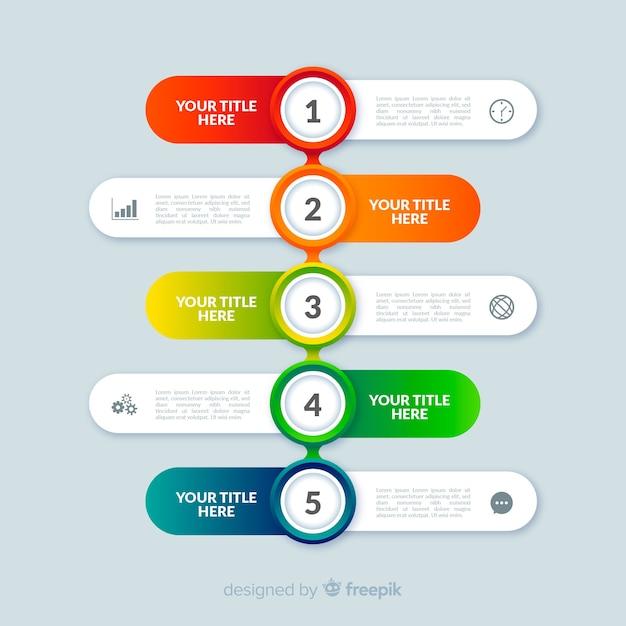Stile piano colorato infografica passi modello Vettore gratuito