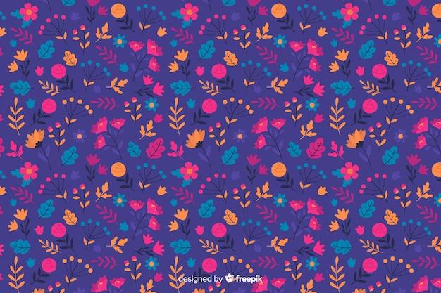 Stile piano del fondo decorativo dei fiori variopinti Vettore gratuito