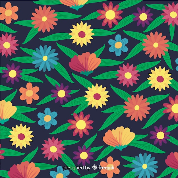 Stile piano del fondo dei fiori e delle foglie Vettore gratuito