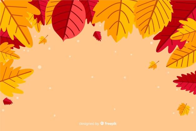 Stile piano del fondo delle foglie di autunno Vettore gratuito
