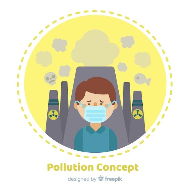 Stile piano del fondo di concetto di inquinamento Vettore gratuito