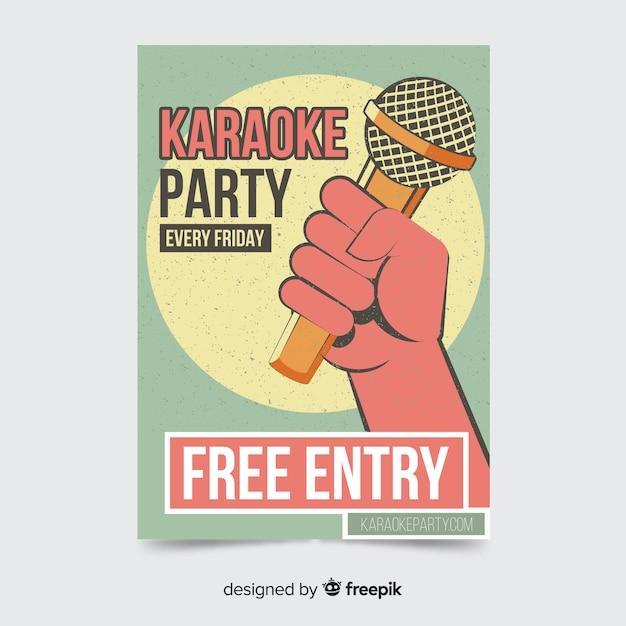 Stile piano del modello di manifesto di karaoke Vettore gratuito