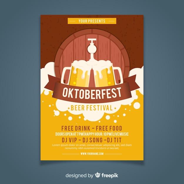 Stile piano del modello di poster di oktoberfest Vettore gratuito