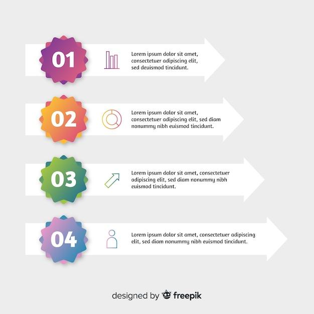 Stile piano del modello di punti di infografica Vettore gratuito