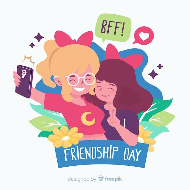 Stile piano di amicizia giorno sfondo Vettore gratuito