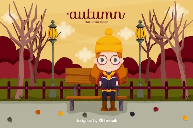 Stile piano di autunno ragazza sfondo Vettore gratuito