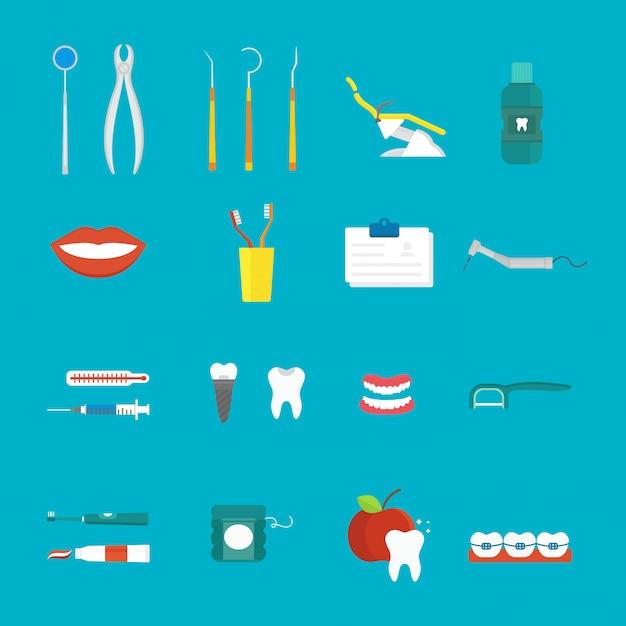 Stile piano di concetto medico di igiene dentale con il vettore sano delle icone di cura del dente di sezione trasversale. Vettore Premium