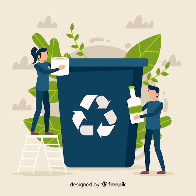 Stile piano di ecologia concetto sfondo Vettore gratuito