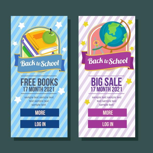 Stile piano di grande vendita del libro verticale dell'insegna di scuola Vettore Premium
