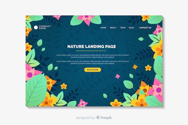 Stile piano di pagina di atterraggio floreale Vettore gratuito