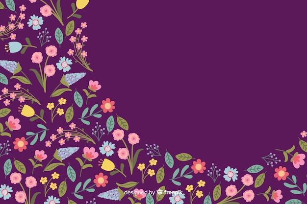 Stile piano di sfondo colorato di fiori Vettore gratuito