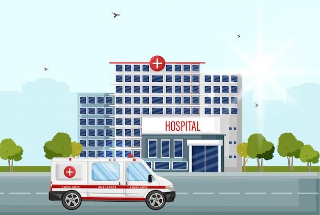 Stile piano vista strada facciata ospedale. auto ambulanza all'ingresso Vettore Premium