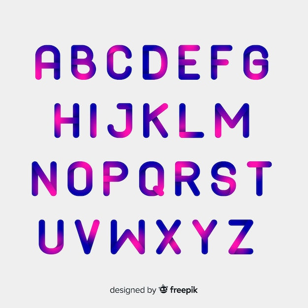 Stile piatto modello alfabeto gradiente Vettore gratuito
