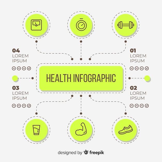 Stile piatto modello infografica salute Vettore gratuito