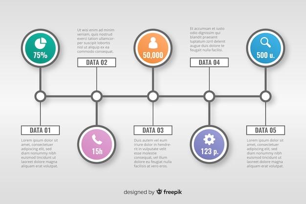 Stile piatto modello infografica timeline Vettore gratuito