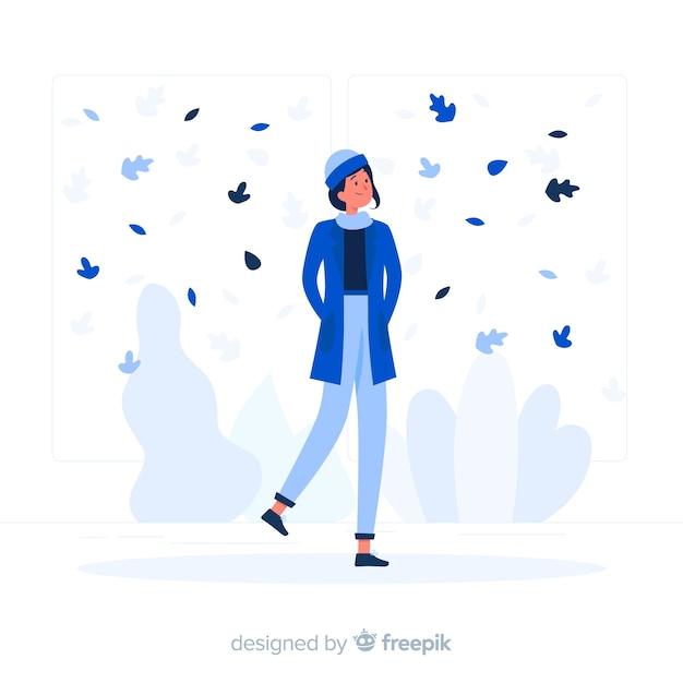 Stile piatto ragazza autunno blu Vettore gratuito