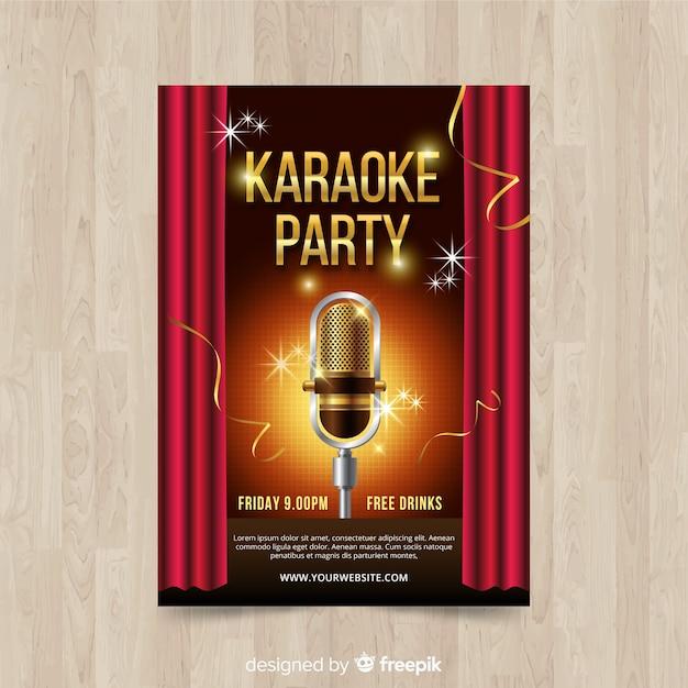 Stile realistico del modello del manifesto di karaoke Vettore gratuito
