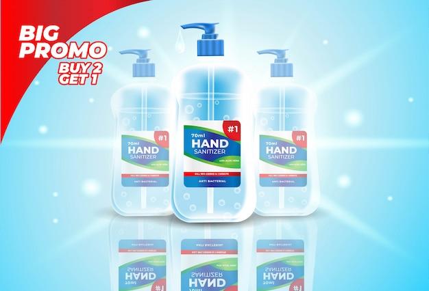 Stile realistico di bottiglia disinfettante per le mani per banner promozionali o annunci. Vettore gratuito