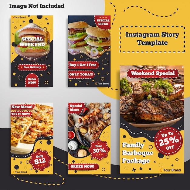Stile retrò vintage del menu del modello di storia di storie di instagram di cibo sociale di media Vettore Premium