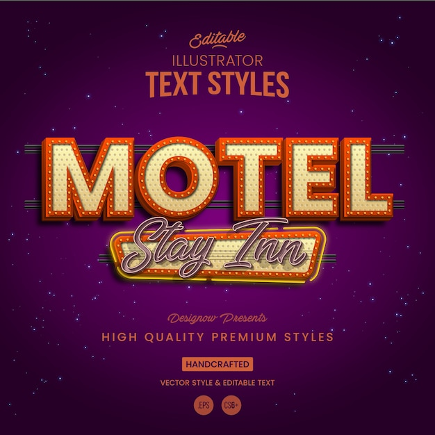 Stile retrò vintage motel text Vettore Premium