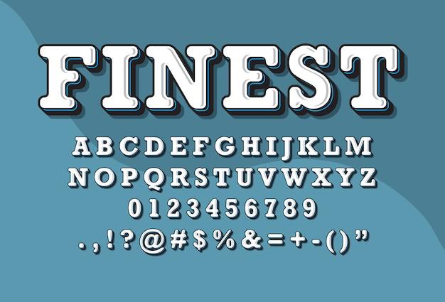 Stile retrò vintage set di caratteri alfabeto 3d Vettore Premium