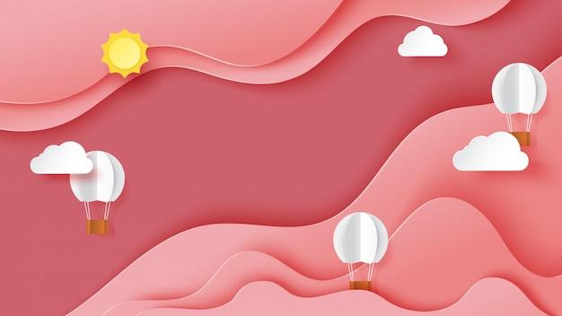 Stile rosa astratto di arte della carta del modello del fondo del paesaggio del cielo Vettore Premium