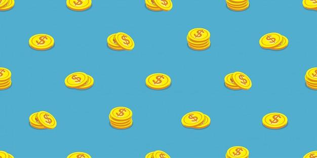 Stile senza cuciture del fumetto del fondo delle monete dei soldi Vettore Premium
