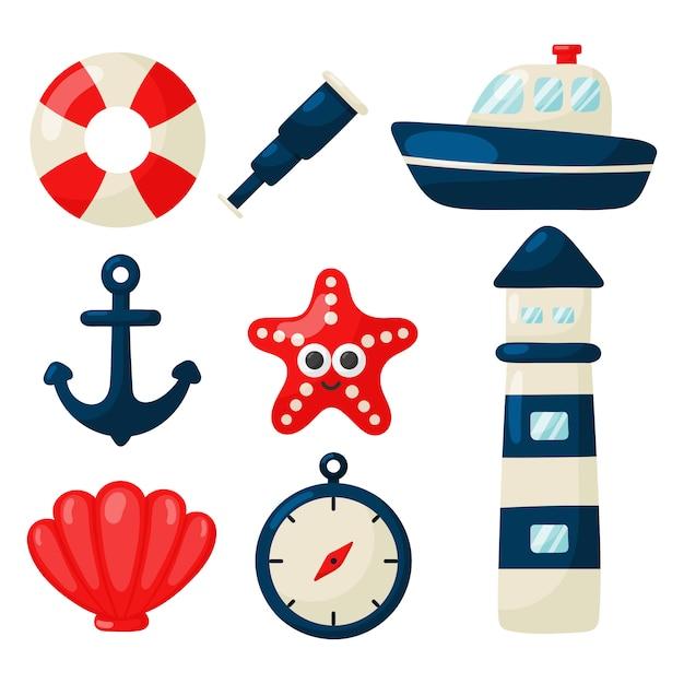 Stile set di icone nautiche del fumetto. isolato Vettore Premium
