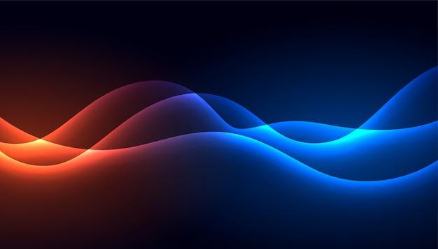 Stile tecnologia incandescente splendente onda sfondo Vettore gratuito