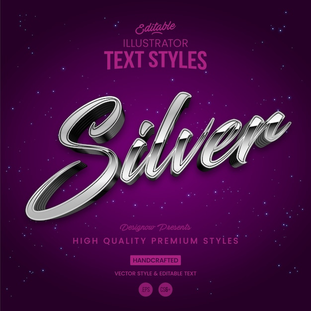Stile testo argento Vettore Premium