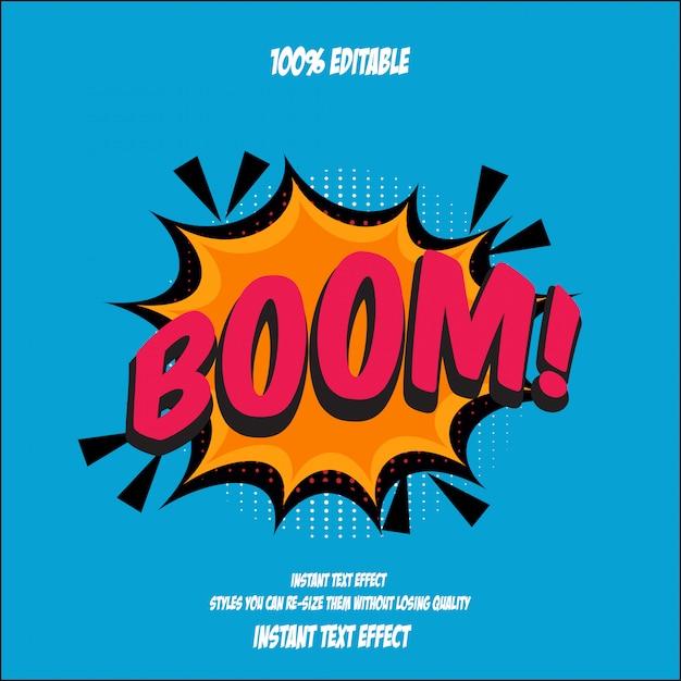 Stile testo boom, effetto carattere modificabile Vettore Premium