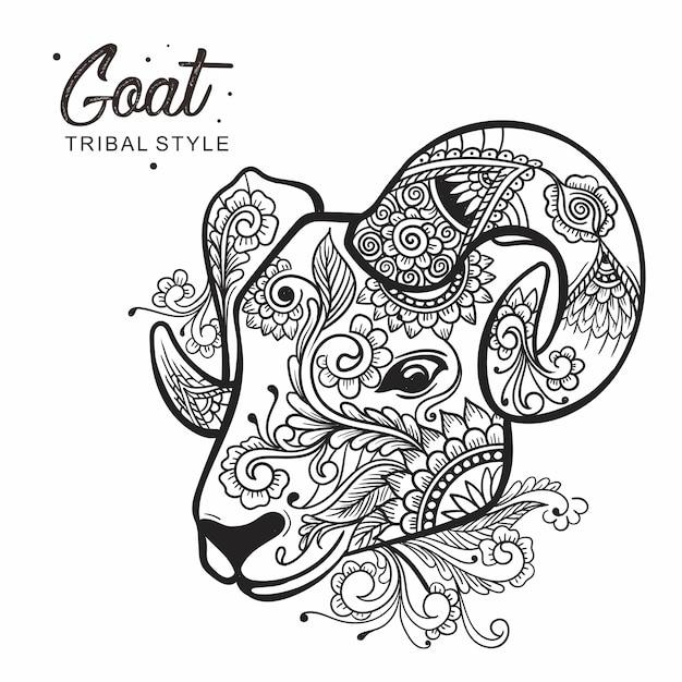 Stile tribale della testa della capra disegnato a mano Vettore Premium