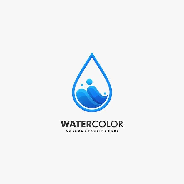 Stile variopinto di gradiente dell'acqua dell'illustrazione di logo di vettore. Vettore Premium