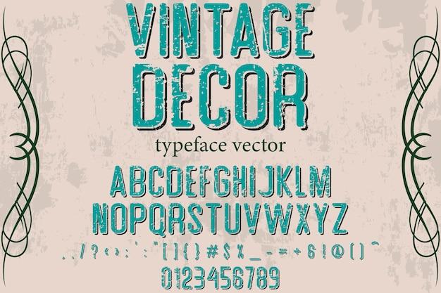 Stile vintage carattere tipografico design arredamento vintage Vettore Premium