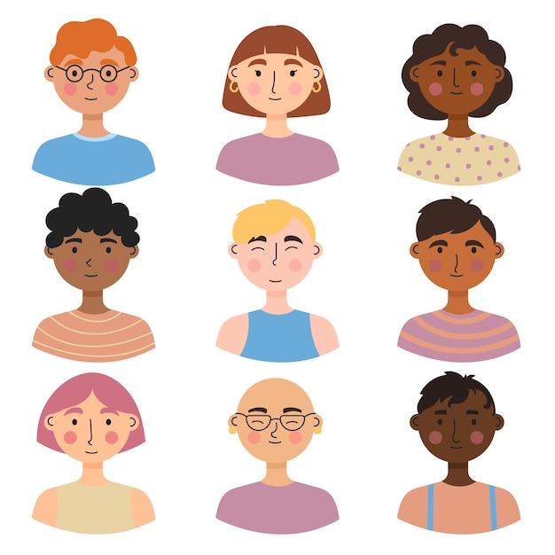 Stili di avatar per persone diverse Vettore gratuito