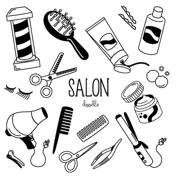Stili di disegno a mano con articoli da negozio. negozio salone doodle. Vettore Premium
