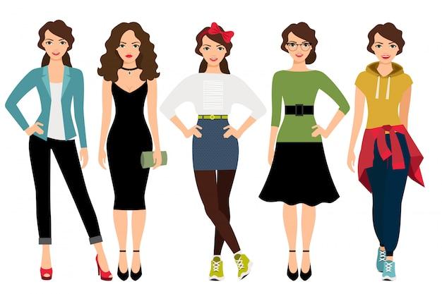 Stili di moda donna illustrazione vettoriale. modello femminile in abiti casual, adolescenti e business isolato Vettore Premium