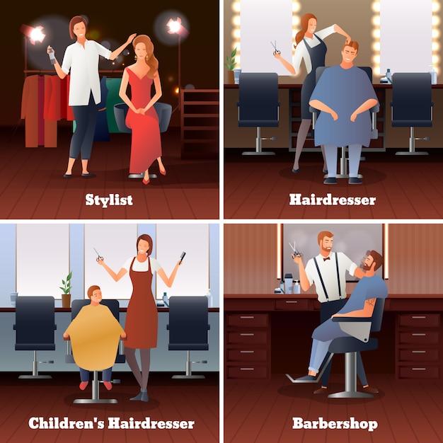 Stilista barbershop design concept Vettore gratuito