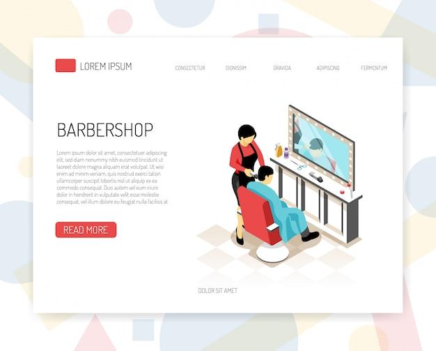 Stilista del barbiere durante il concetto isometrico del lavoro dell'insegna di web con gli elementi dell'interfaccia su bianco Vettore gratuito