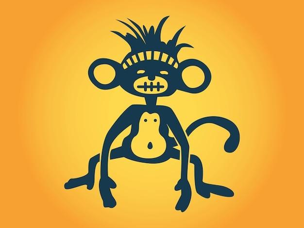 Stilizzato cartone animato pancia scimmia vettore