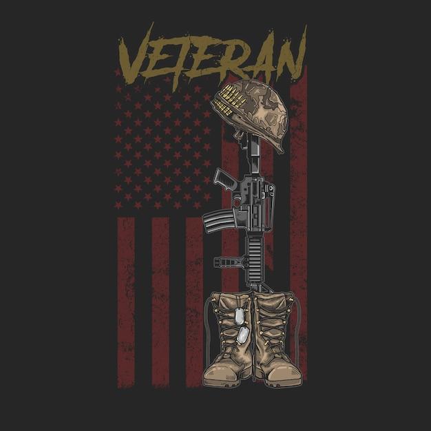 Stivale veterano americano e pistola grafica stile grunge tees Vettore Premium
