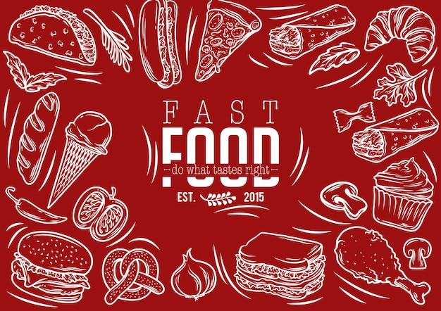 Stock vector set di banner fast food Vettore Premium