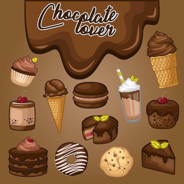 Stock vector set di dessert al cioccolato Vettore Premium