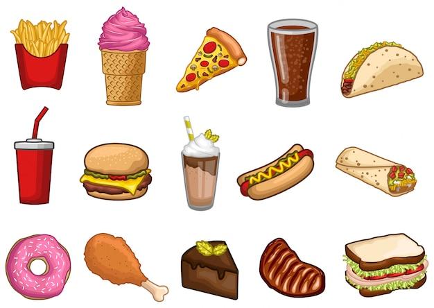 Stock vector set di illustrazione grafica oggetto fast food Vettore Premium