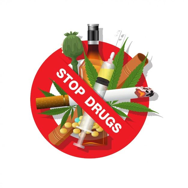Stop alle droghe Vettore Premium