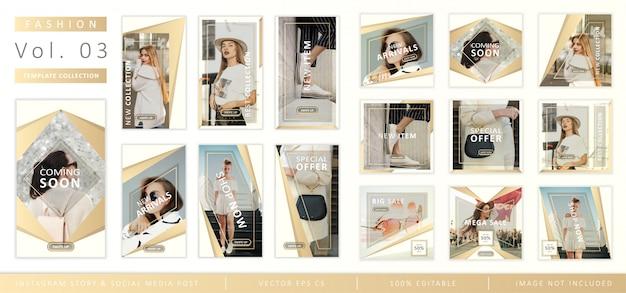 Storia di instagram di moda e raccolta di modelli di post sui social media Vettore Premium