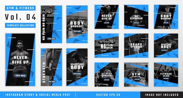 Storia di instagram di palestra e fitness e raccolta di modelli di post sui social media Vettore Premium
