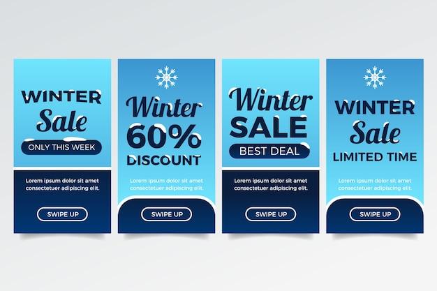 Storia di instagram di vendita di inverno con i fiocchi di neve Vettore gratuito